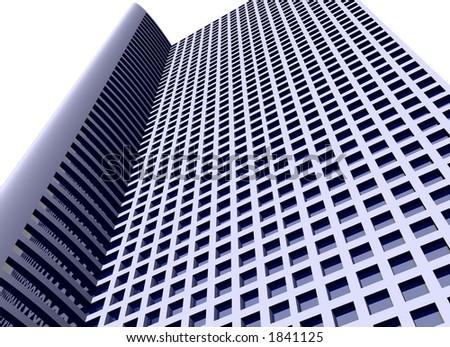 3d skyscraper with path - stock photo