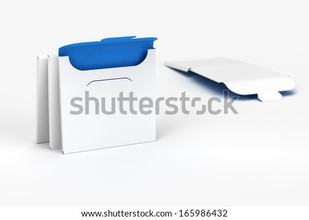 3D Slim Square Box with Blueprint Layout - stock photo