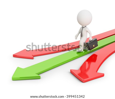 3d small businessman walking on a green arrow. 3d image. White background.