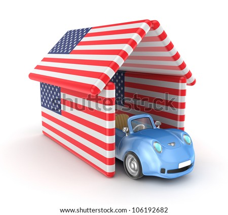 3d small car under the roof made of American flags.Isolated on white background. - stock photo