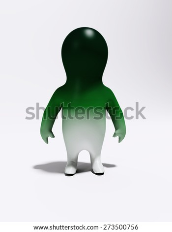 3d small green person isolated on white background. - stock photo
