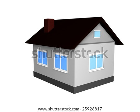 3d small house isolated on white background
