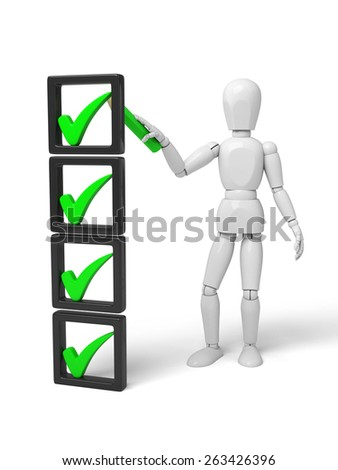 3d small make a check mark. 3d image. Isolated white background - stock photo