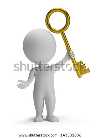 3d small man holding a golden key. 3d image. White background. - stock photo