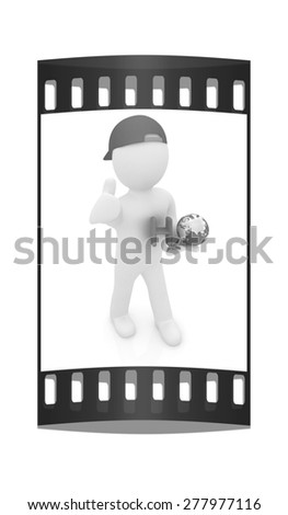 3d small man with H2O - formula of water on white background. 3d image. The film strip - stock photo