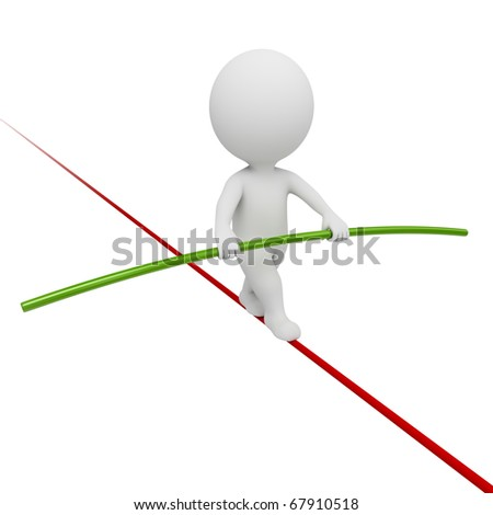 3d small people - acrobat balancing on a rope. 3d image. Isolated white background. - stock photo