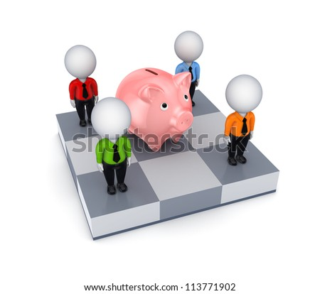 3d small people and pink piggy bank on a chessboard.Isolated on white background.3d rendered.