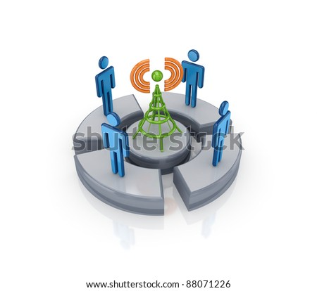 3d small people around cell tower.Isolated on white background. - stock photo