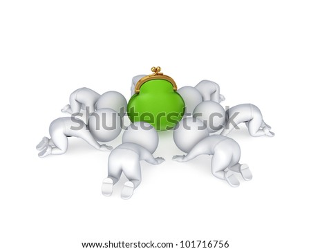 3d small people around green purse.Isolated on white background. - stock photo