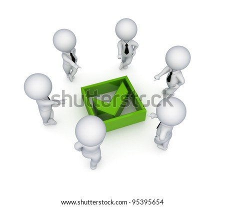 3d small people around green tick mark.Isolated on white background. - stock photo
