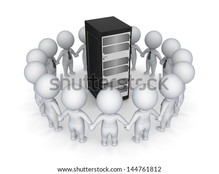 3d small people around server.Isolated on white.3d rendered. - stock photo