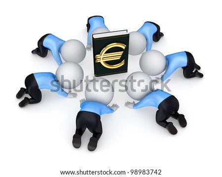 3d small people around the book with euro symbol.Isolated on white background.3d rendered.