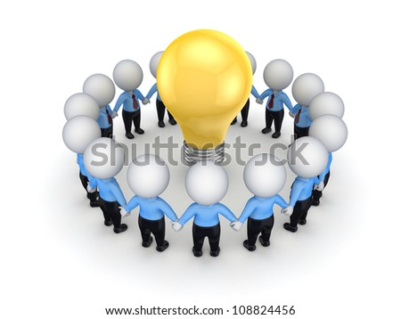 3d small people around yellow bulb.Isolated on white background.