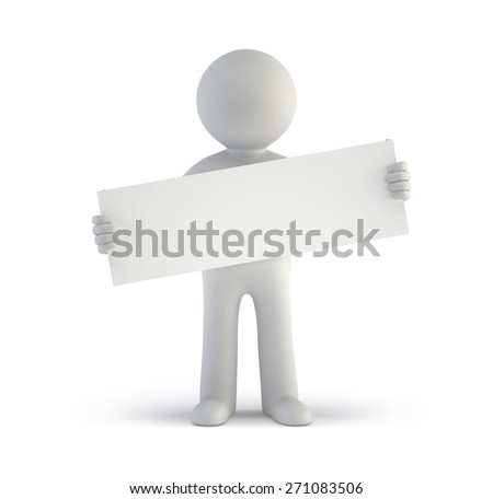 3d small people - blank white board - stock photo