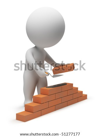 3d small people - builder laying down bricks. 3d image. Isolated white background. - stock photo