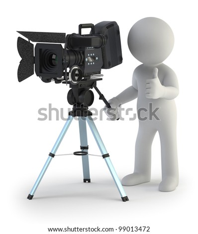 3d small people - Cameraman - stock photo
