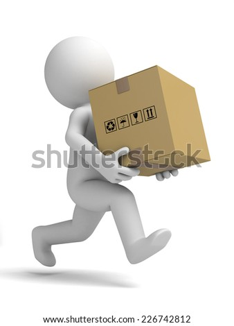 3d small people carrying a cardboard box. 3d image. Isolated white background - stock photo