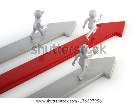 3d small people - competitive advantage - stock photo