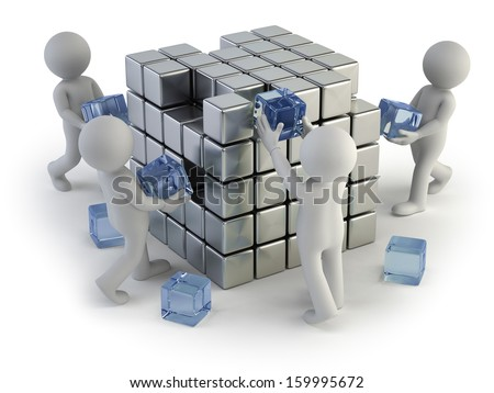 3d small people - concept of creating - stock photo