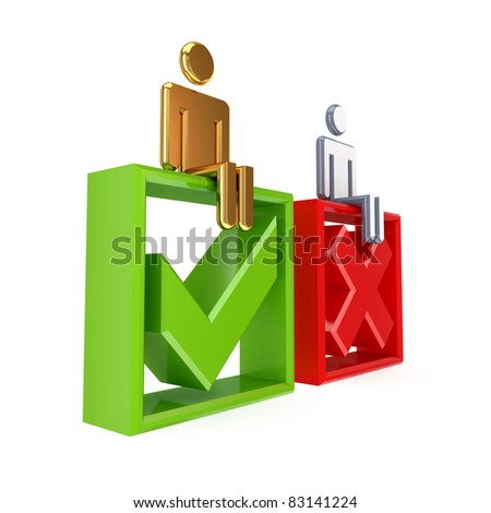 3d small people, cross mark and check mark. Isolated on white background. - stock photo