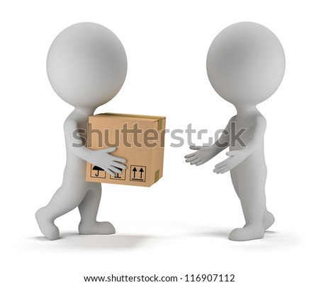 3d small people deliver a parcel to another person. 3d image. Isolated white background. - stock photo