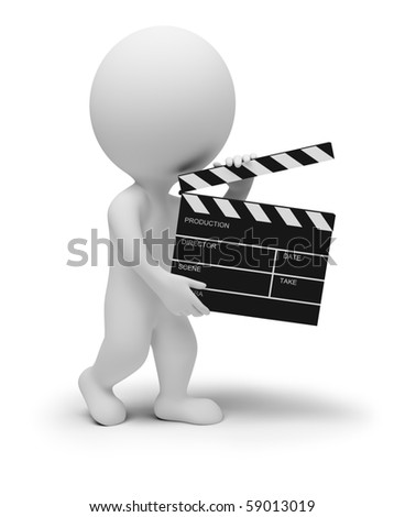 3d small people - director with clapper for movie. 3d image. Isolated white background. - stock photo
