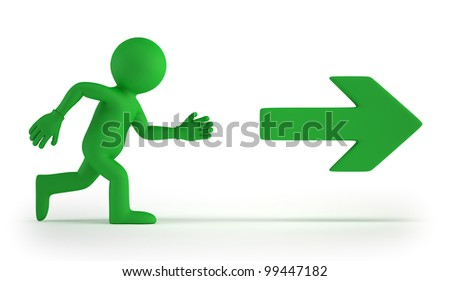 3d small people - Exit - stock photo