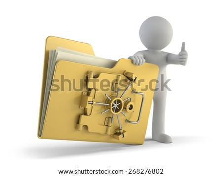 3d small people - file protection - stock photo