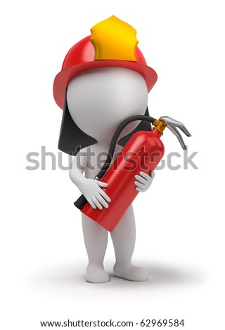 3d small people - fireman with the fire extinguisher and in a helmet. 3d image. Isolated white background. - stock photo