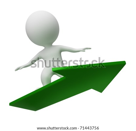 3d small people flying on a green arrow. 3d image. Isolated white background.