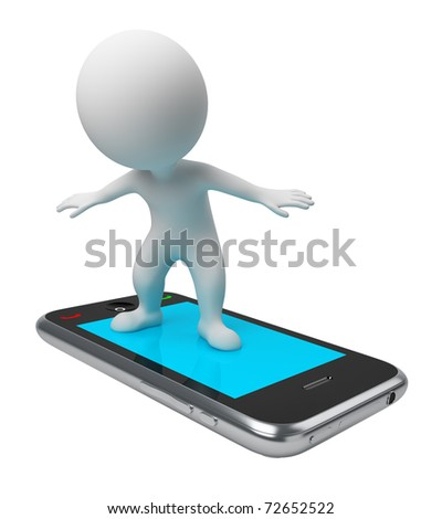 3d small people flying on a mobile phone. 3d image. Isolated white background. - stock photo