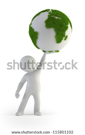 3d small people - Green Planet - stock photo