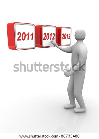 3d small people. Human character pushing 2012. 3d render illustration - stock photo