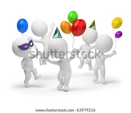 3d small people joyfully celebrating a holiday. 3d image. Isolated white background. - stock photo