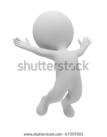 3d small people jumped up for pleasure. 3d image. Isolated white background. - stock photo