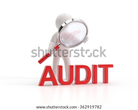 3d small people - lupe audit - stock photo