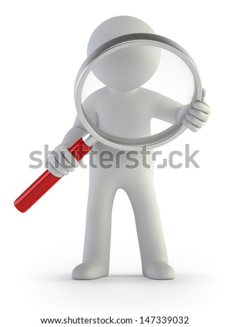 3d small people - magnifier - stock photo