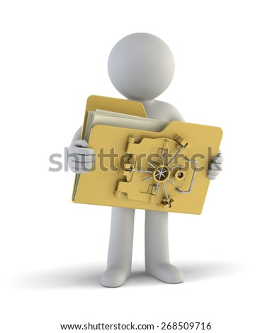 3d small people - My file is safe - stock photo