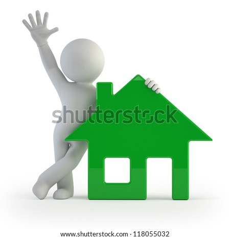 3d small people - my house - stock photo