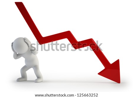 3d small people - negative graph - stock photo