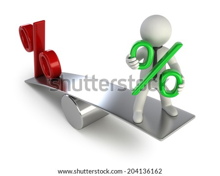 3d small people - payments on deposits - stock photo