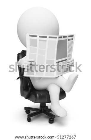 3d small people reading the newspaper sitting in a working armchair. 3d image. Isolated white background. - stock photo