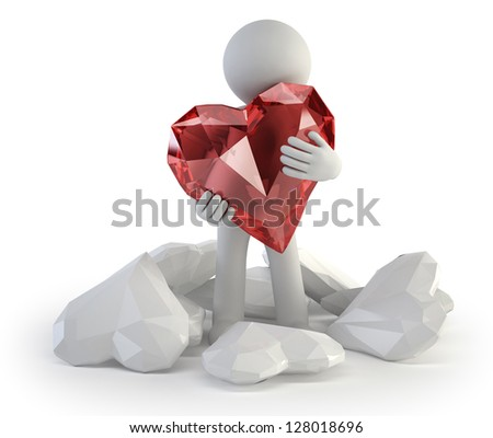 3d small people - real love - stock photo