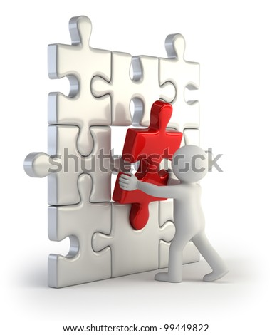3d small people - red puzzle insert - stock photo