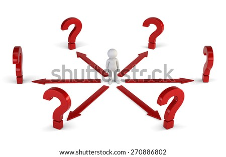 3d small people - right decision - stock photo
