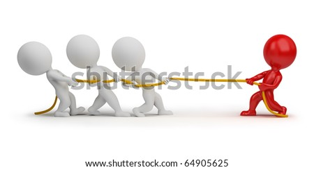 3d small people - rope pulling. 3d image. Isolated white background. Clipping path included. - stock photo