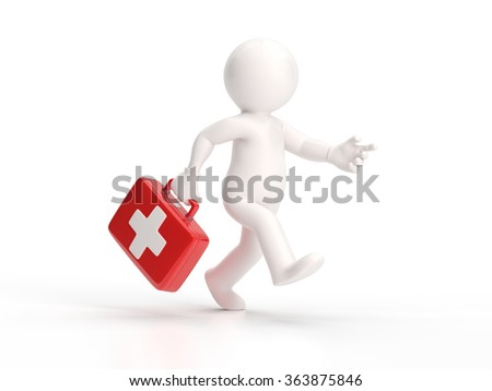 3d small people - running doctor - stock photo