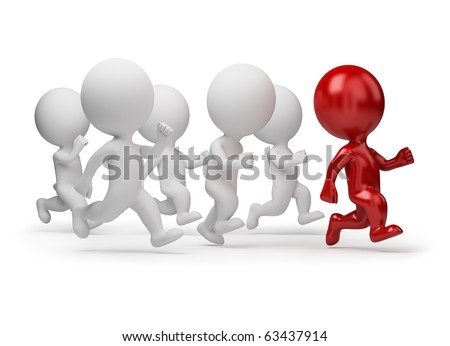 3d small people running for the leader. 3d image. Isolated white background. - stock photo