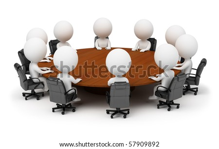 3d small people - session behind a round table. 3d image. Isolated white background. - stock photo