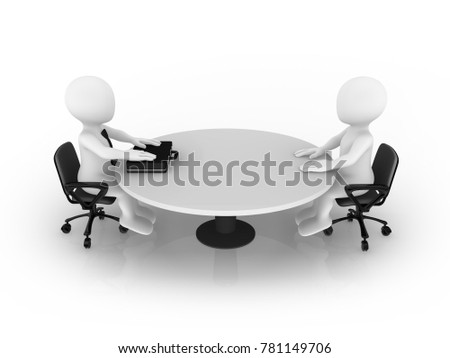 3d small people sitting at round table. Businessman and client.